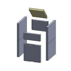 Feuerraumauskleidung Heizgasumlenkplatte 226x225x30mm passend für Wamsler** Kamine z.B. Calor F Kaminersatzteile, Flamado | schamotte-shop.de