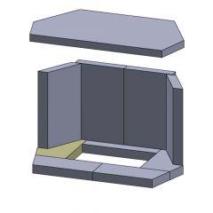 Bodenstein links/rechts 196x125x30mm (Schamotte)