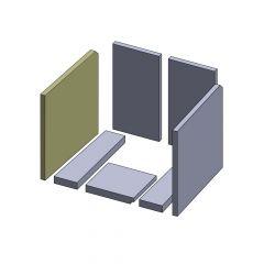 Wandstein links/rechts 395x371x20mm (Vermiculite)