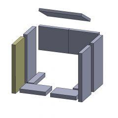 Feuerraumauskleidung Bodenstein vorne links / rechts 203 x 135 x 30 mm Brennraumauskleidung für Kaminöfen, Flamado | schamotte-shop.de