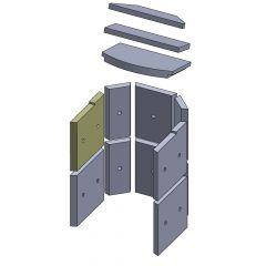 Wandstein vorne oben links 243 x 229 x 25 mm Brennraum Ersatzteil passend für Fireplace Alicante, Flamado   schamotte-shop.de