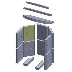 Wandstein hinten oben/unten links/rechts 230x175x25mm (Vermiculite)