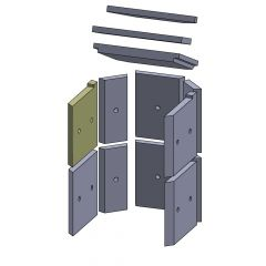 Wandstein vorne oben links 250x230x25mm (Vermiculite)