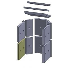 Wandstein vorne unten links/rechts 245x230x25mm (Vermiculite)