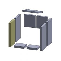 Wandstein vorne links/rechts 360x183x30mm (Vermiculite)