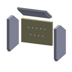 Rückwandstein 340x255x25mm (Vermiculite) passend für Fireplace**