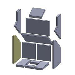 Wandstein links/rechts 425x280x25mm (Vermiculite) passend für Oranier**