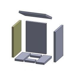 Wandstein links/rechts 410x275x25mm (Schamotte) passend für Oranier**