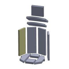 Wandstein links/rechts 438x147x25mm (Vermiculite) passend für Oranier**