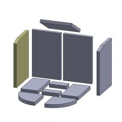 Wandstein links/rechts 400x276x25mm (Vermiculite) passend für Oranier**