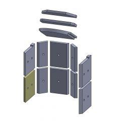 Wandstein vorne unten links/rechts 245x230x25mm (Vermiculite) passend für Hark**