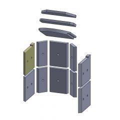 Wandstein vorne oben links 245x230x25mm (Vermiculite) ▷ Hark** 74 ◁ Feuerraumauskleidung