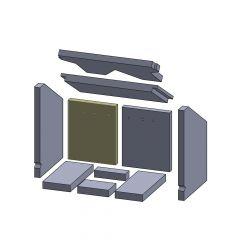 Rückwandstein links/rechts 255x207x25mm (Vermiculite) passend für Oranier**