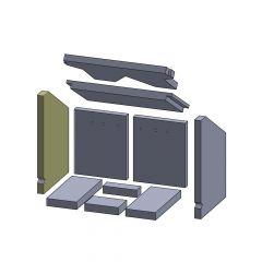 Wandstein links/rechts 390x263x25mm (Vermiculite) passend für Oranier**
