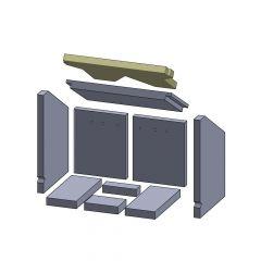 Heizgasumlenkplatte oben 425x265x25mm (Vermiculite) passend für Oranier**