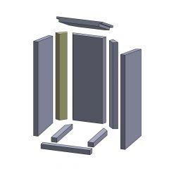 Wandstein hinten links 567x77x30mm (Vermiculite) ▷ für Thermia** Neuwerk