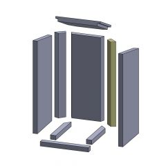 Wandstein hinten rechts 567x77x30mm (Vermiculite) passend für Thermia**