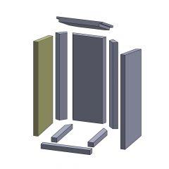 Wandstein vorne links 620x277x30mm (Vermiculite) passend für Thermia**