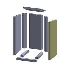 Wandstein vorne rechts 620x277x30mm (Vermiculite) passend für Thermia**