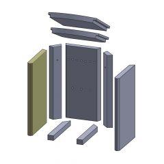 Wandstein vorne links/rechts 448x260x30mm (Vermiculite) passend für Thermia**