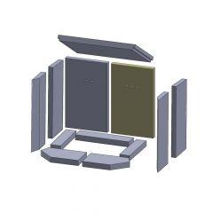 Rückwandstein links/rechts 385x235x25mm (Vermiculite) passend für Thorma**