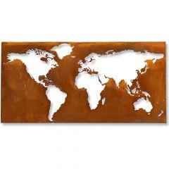 Edelrost Worldmap negativ XXL