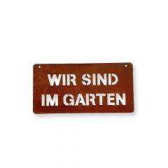 Edelrost Schild im Garten » Schamotte-Shop.de