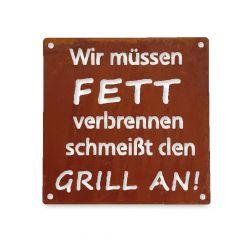 Edelrost Schild Grill Saison » Schamotte-Shop.de