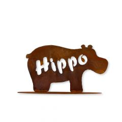 Edelrost Hippo mit Fuß » Schamotte-Shop.de
