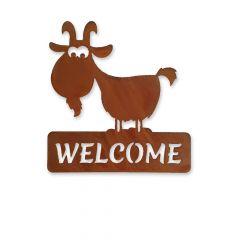 Edelrost Ziege mit Schild welcome