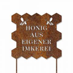 Schild mit Stecker in Edelrost, Honig aus eigener Imkerei