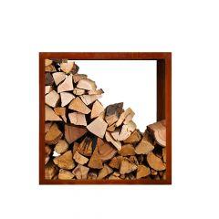 Brennholzregal ØVENDECK Bergen 1000x1000c | Skandinavisches Design | Edelrostoptik