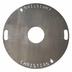 Feuerplatte Grillplatte Grillring mit Wunschname Ø 60 cm für Feuertonnen