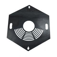 Feuerplatte Grillplatte mit integriertem Rost 6-eckig Ø 60 cm