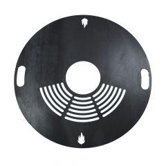 Feuerplatte Grillplatte mit Rost Ø 80 cm aus Stahl