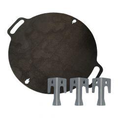 Feuerplatte mit Griffen ✓ von Ø 30 bis Ø 70 cm ✓ inkl. Abstandshalter
