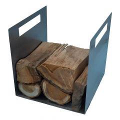 Holzträger / Feuerkorb Ven » aus poliertem Edelstahl