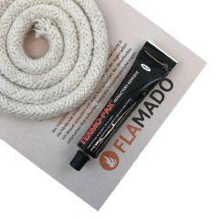 keramische Ofendichtung | Dichtschnur für Ofentüre | 14mm x 2m inkl. Kleber | passend für Fieplace Madrid** | schamotte-shop.de