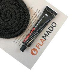 Ofendichtung | Dichtschnur für Glasscheibe | 8mm x 2m inkl. Kleber | passend für Techfire Rondo** | schamotte-shop.de