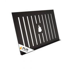Ascherost aus Stahl 400x300x4mm | Grillplatz Porto | Frontansicht Logo | universal einsetzbar | PUR Schamotte | Schamotte-Shop.de