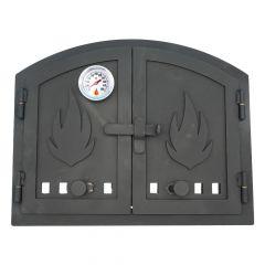 Ofentür aus Stahl 45 x 36 cm schwarz Flügeltür abgerundet mit Zuluftregler & Thermometer