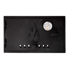 Ofentür aus Stahl 49 x 29 cm schwarz mit Zuluftregler & Thermometer