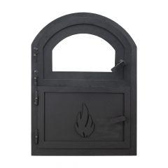 Ofentür Caserta Premium mit Sichtscheibe | Ofentür aus Stahl 609 x 449 mm schwarz | schamotte-shop.de