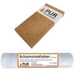 Schamottereparatur-Set - Schamottstein NF1-32 + Schamottekleber 500g