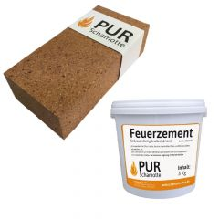 Schamottereparatur-Set - Schamottstein NF1 + Feuerzement 3kg