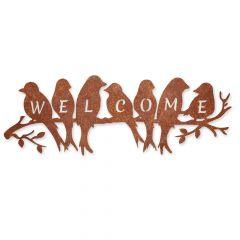 Edelrost welcome birds Aufhänger » Schamotte-Shop.de