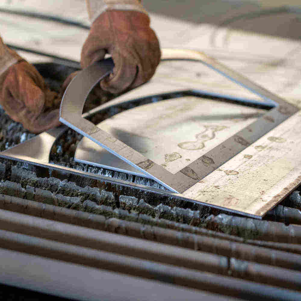 Ausgeschnittene Ofentür-Teile aus Stahl