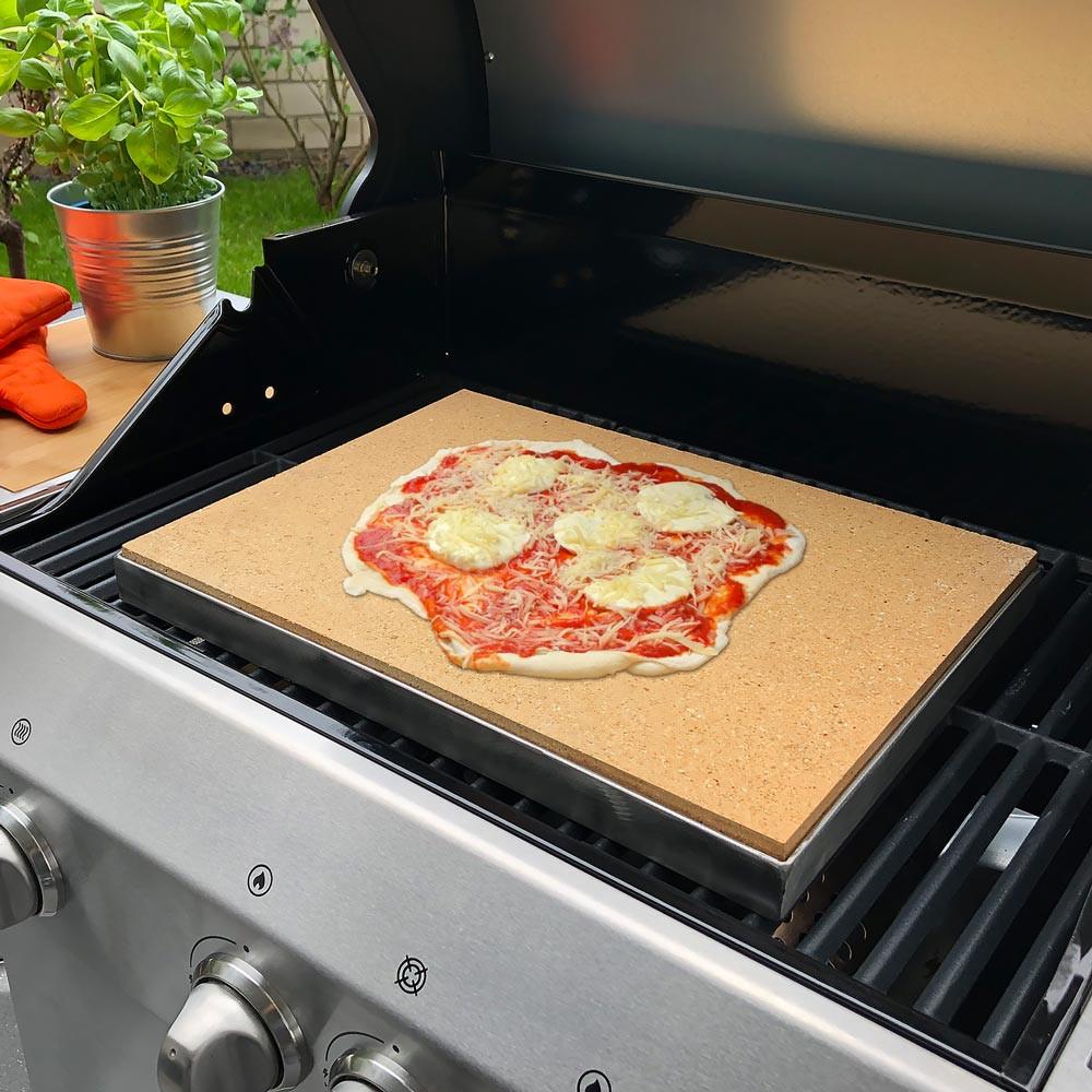 Pizzasteine für den Grill mit Edelstahlrahmen