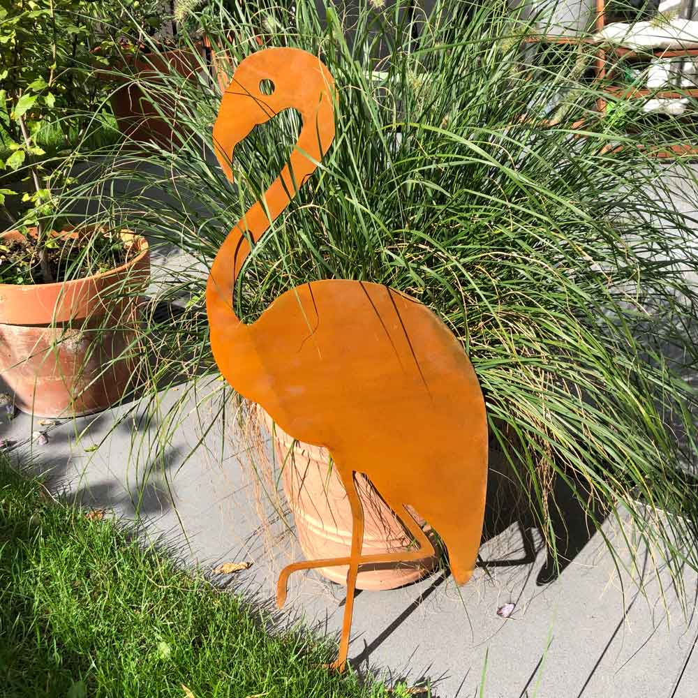 Gartenfigur Edelrost Flamingo