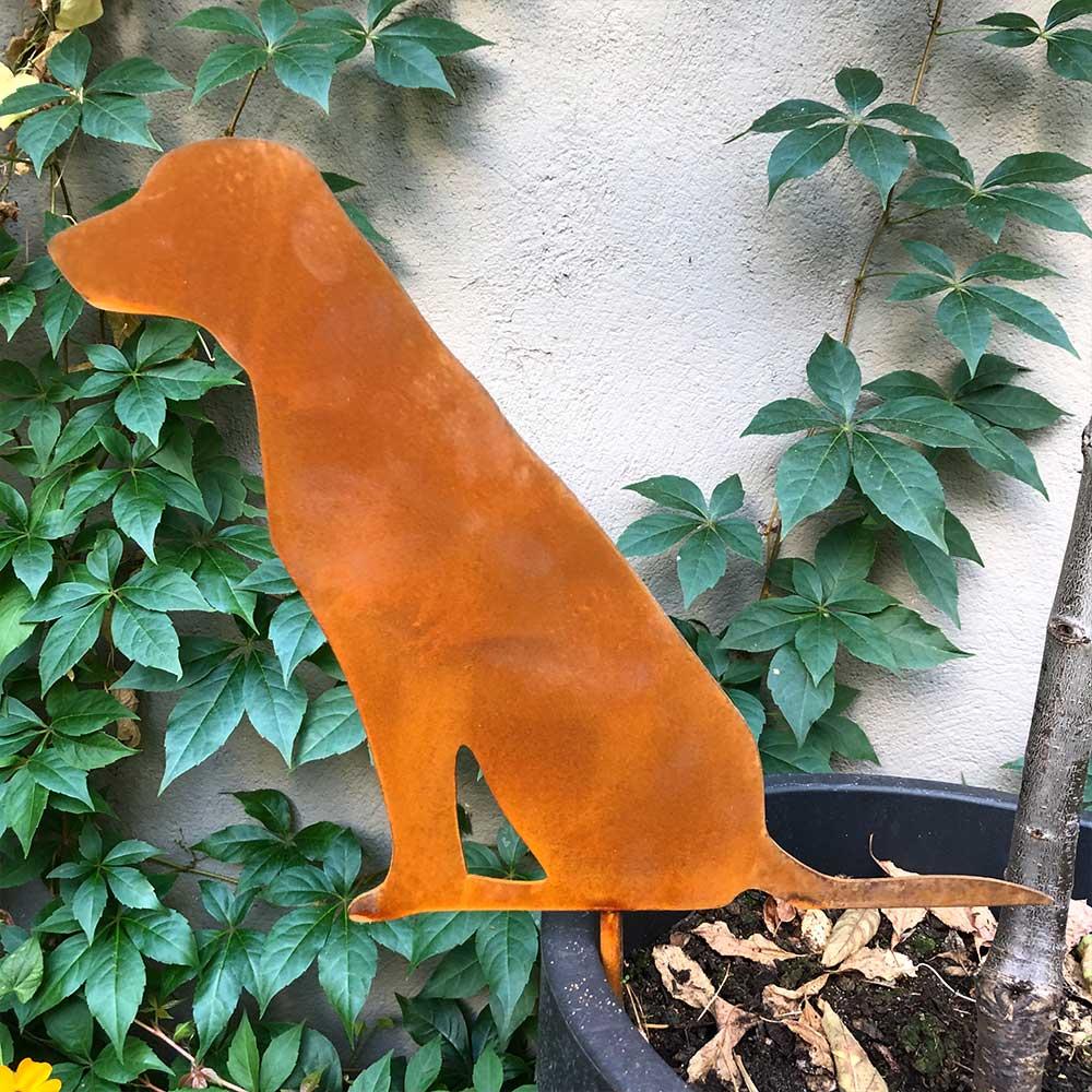 Gartenfigur Edelrost Hund